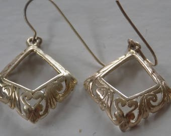 "Vintage earrings, Art Nouveau style sterling silver ""hearts and flora"" earrings, drop earrings, retro jewelry"