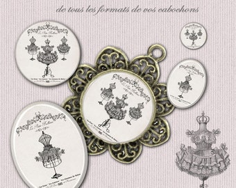 Digital collage sheet 60 circles and oval Fashion Model printable images for cabochon 2