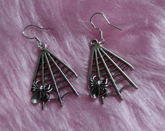 PREMADE One Pair of Large Spider Web Sterling Silver Earrings