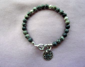 6 mm Silkstone and pewter bracelet