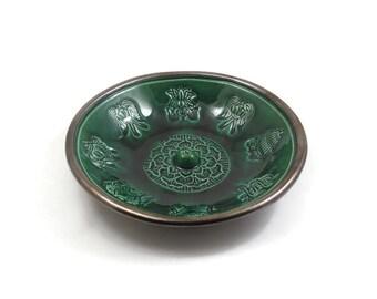 RAKU-Weihrauch-Brenner handgemachte 8 Auspiscious Zeichen des Buddha Keramik Keramik