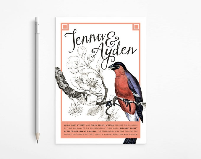 PRINTABLE - Vintage Bird Wedding Invitation - Red - Purple - Coral - Black and white - Romantic - Free changes