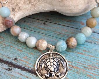 Sea Turtle Amazonite Beaded Necklace, Faceted Amazonite Stone, Suede Leather Cording, Sea Turtle Pendant, Beach Necklace, Turtle Necklace