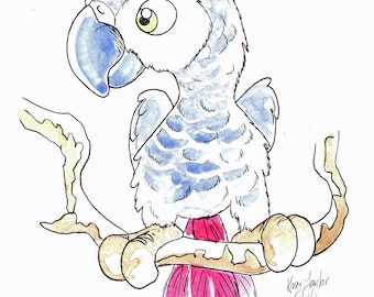 Cute African Grey Parrot Original caricture cartoon by Australian Casey Taylor