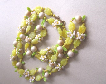 1960's Lemon Lime Flowers Fruit Salad Necklace Hong Kong Hippie Daisy Daisies 60's Party Accessories Summer Costume Jewelry MoonlightMartini