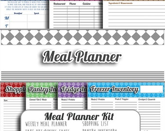 Meal Planning - Kitchen Organization - Diet ideas - Meal Management - Digital Download - Meal Planner Kit blanks non dated