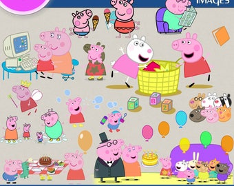 PEPPA PIG clipart png images, Digital Cliparts, Stickers, Decals, Png file, Transparent Backgrounds, digital print, printable images