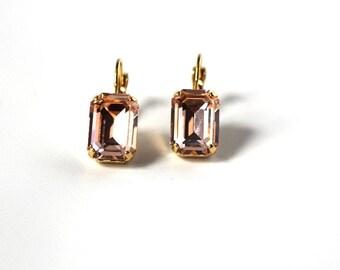 Peach Earrings, Pink Crystal Earrings, Swarovski Crystal, Rhinestone Earrings, Peach Crystal Jewelry, Paste Earrings, 18th Century Regency