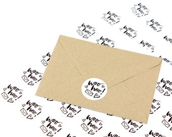 Packaging stickers 'woo hoo!' - mail stickers - post labels - envelope stickers - happy mail stickers - woo hoo stickers - wedding stickers