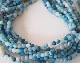 Strand Gemstone Agate Frosted Beads Sky Blue Size 6mm Quantity 62 Beads