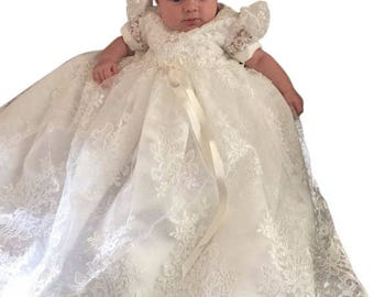 Christening dress -  Baptism dress  - baby girl 2 pc set  lace    white - girl Christening gown -- clearance---