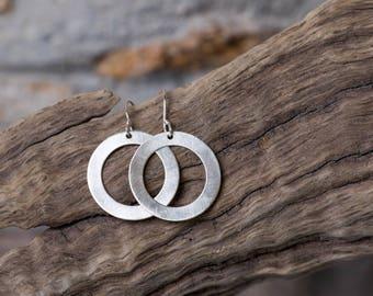 Sterling Hoop Earrings, Matte Sterling Earrings, Up-cycled Sterling Earrings, Recycled Sterling Earrings, Brushed-Finish Sterling Earrings,