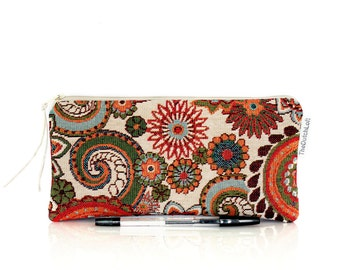 Boho Pencil case, Boho Makeup bag, Paisley pen bag, Small upholstery pouch, Teacher gift, School supplies, Cosmetic case, Gift Girlfriend