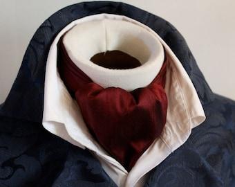 DAY Cravat Victorian Ascot Tie Cravat - Maroon Red Wine Dupioni SILK