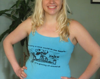 blue tank top shirt, new world in our hearts, medium - organic farming sustainable food grow plant eat garden
