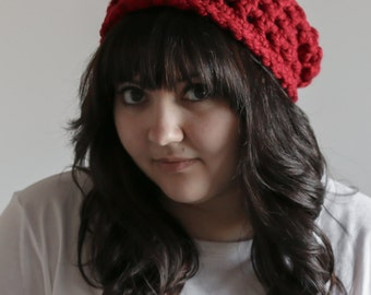 Slouchy Beanie Hat Chunky Skull Cap | THE WASTREL in Cranberry