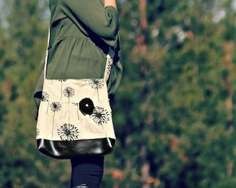 Handbag, Crossbody Purse, Messenger Bag, Medium Faux Leather Bag, Flower Purse, Dandelion Handbag, Vegan Leather, Pleated Purse, Dandelions