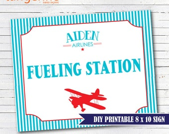 Airplane Birthday - Airplane Sign - Airplane Fueling Station Sign - DIY Printable - INSTANT DOWNLOAD