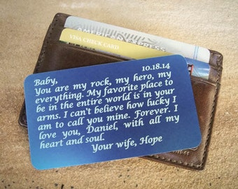 Metal Wallet Insert, Custom Wallet Insert, Personalized Wallet Card, Engraved Wallet Card, Father Day, Wedding Gift for Him, Something Blue
