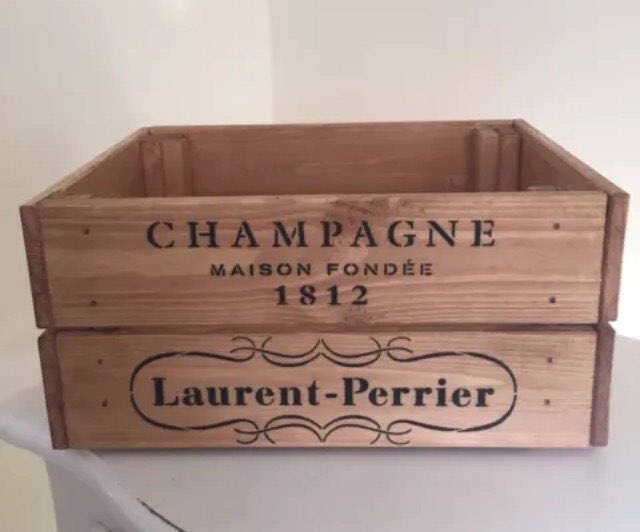 Laurent perrier 1812 champagne wooden wine crate storage box for Wooden wine box garden