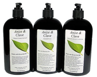 ANISE & CLOVE, Hair Conditioner, Liquid, Shampoo, Lotion, Essential Oil, VEGAN, Paraben Free, Homemade, Natural, 8oz, 16oz, Black Pump
