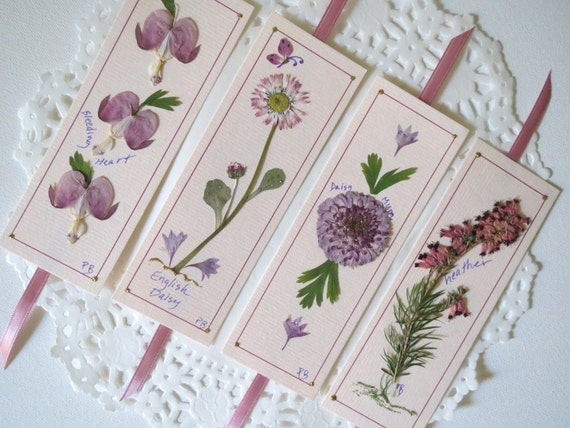 Laminated Pressed Flowers ~ Handmade unique pressed flower bookmarks gift set
