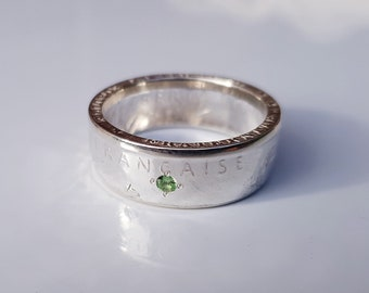 Ring coin 2 francs planter in silver with gemstone (corner ring)