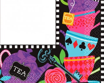Mad Hatter Tea Party Napkins/ Alice in Wonderland Party Napkins/ Dark Tea Party Napkins/ Tea Party Napkins/ Tea Party