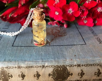 yellow wildflower petal necklace gift for her, gift under 25, flower jewelry