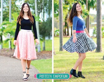 PATTERN : SKIRT - Ladies Circle Skater Skirt - PDF Pattern Sewing Pattern - Instant Download - Pattern Emporium
