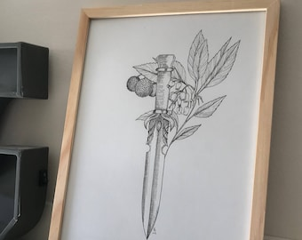 Dagger and lychee - black ink illustration drawing