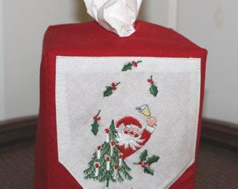 Santa Tissue Box cover vintage hanky red cotton boutique tissue box
