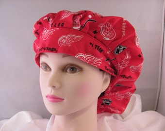 Women's Bouffant Scrub Hat Red Wings