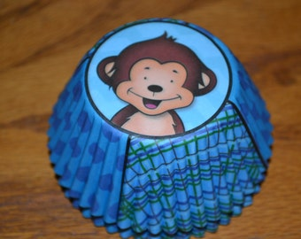"""50 """"Monkey"""" Standard Cupcake Party Liners/Cupcake Liners/Cupcake Liners/Cupcake/Liners/Monkey Cupcake Liners/Chimpanzee Cupcake Liners"""