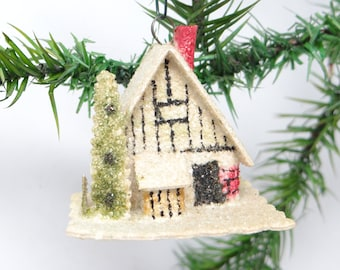1940's Christmas Ornament, Glittered Cardboard House with Tree