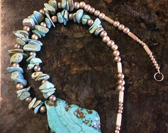 Turquoise and Sterling Silver necklace. One of a kind!