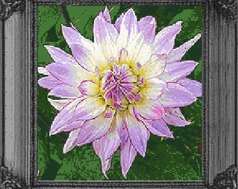 Modern cross stitch design Dahlia