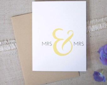 Mrs & Mrs Wedding Congratulations Card / Lesbian Wedding