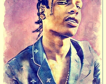 Asap Rocky Watercolor Painting Artistic Press