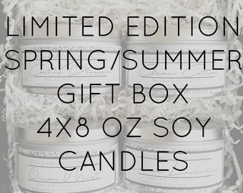 Pick Four 8 oz Spring & Summer Soy Candle Tins Gift Box   Bulk Soy Candle   Scented Soy Candles   Candle Gift Set   Gift Idea   Soy Candles