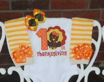 Baby Girl First Thanksgiving Outfit/ My 1st Thanksgiving outfit for baby girl/ Thanksgiving turkey outfit/Girls First Thanksgiving/Turkey