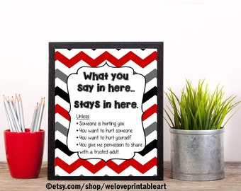 Counselor Gift, Confidentiality Rules, Office Decor, School Counselor Gift, Counseling Office, Guidance Counselor, Counsellor, Mental Health