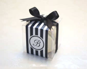 French Macaron Boxes, Black and White, Wedding Favor Boxes - 24 Favor Boxes, party supplies