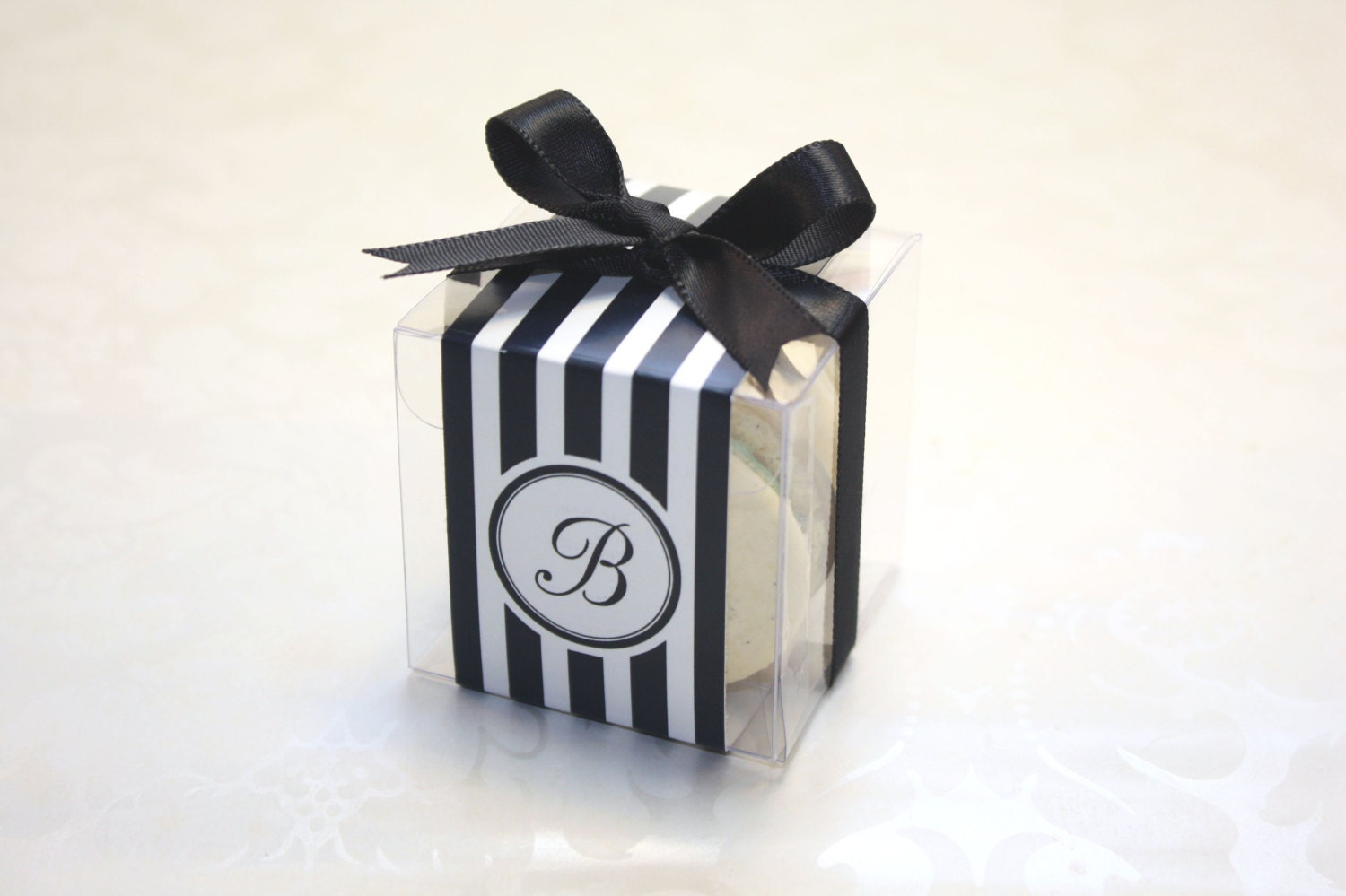 French Macaron Boxes Black and White Wedding Favor Boxes