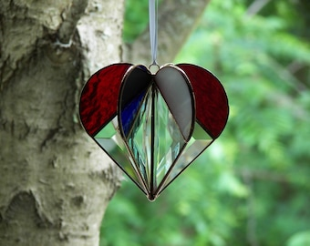 Stained Glass Heart Red, White,and Blue, Patriotic heart, Patriotic Suncatcher,Stained Glass Suncatcher, Bevel Heart, Heart Ornament