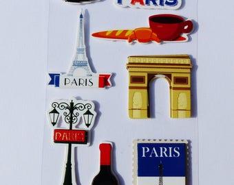 stickers 3D relief Oh PARIS la Tour Eiffel arc de triomphe coffee growing wine France gourmet kitchen fashion