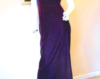 Vintage ESCADA Evening Gown XS. Purple Silk Velvet 30s Style Dress. Art Deco Rhinestone Straps. Red Carpet Couture Fishtail Gown Size 2