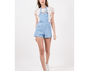 Vintage shorteralls / 1950s 1950s short shorts overalls / Pale blue chambray romper playsuit / Adjustable straps / S