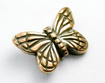 Copper Plated Pewter Monarch Butterfly Bead, 16x11mm,  Top Drilled, Antique Finish, Made in USA, #TC128