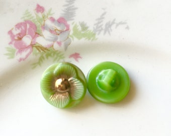 Vintage Czech Glass Button Set, Lime Green Flower Buttons w Gold Detailing, Small Diminutive Buttons, Woodland Sewing Buttons Pair (2) LAST